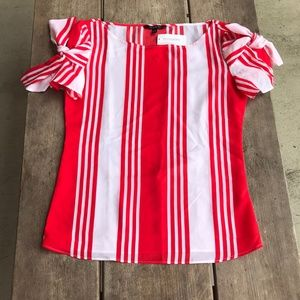 Banana Republic Red White Striped Blouse NEW NWT S